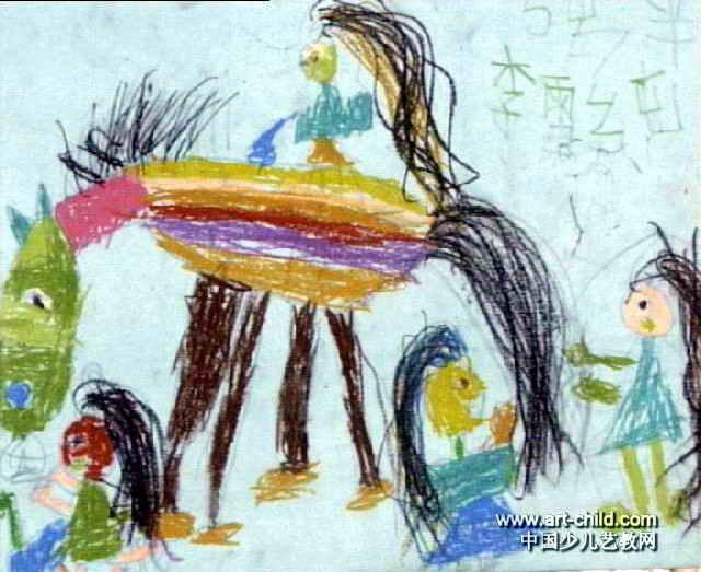 马尾和我们的辫子儿童画作品欣赏