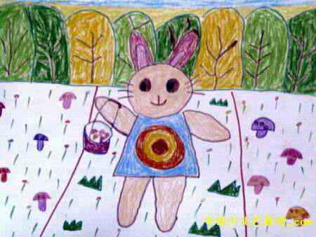 小兔采蘑菇儿童画