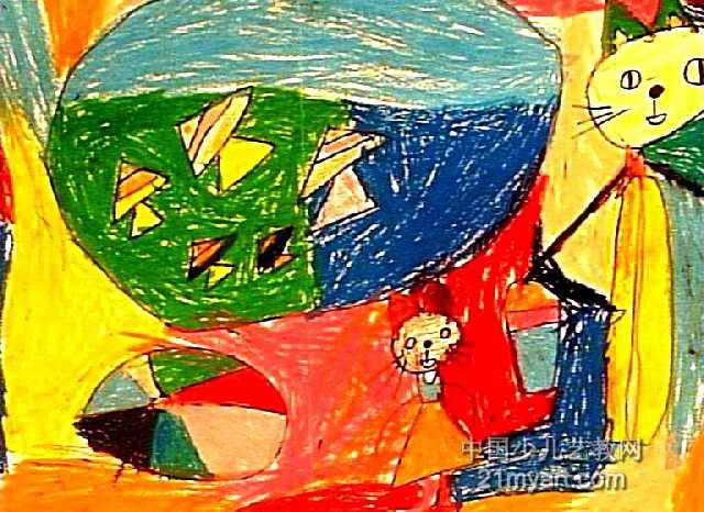 小猫钓鱼儿童画(四)7幅(第6张)