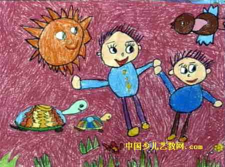 出游儿童画,此幅油画棒画尺寸为335x450像素