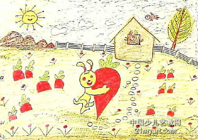 兔妈妈种萝卜儿童画作品欣赏