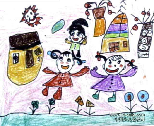 我家姐姐个个美儿童画作品欣赏