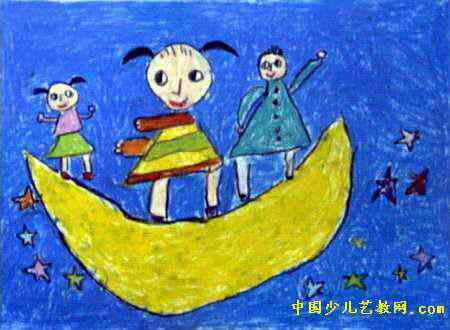 鸟的天堂儿童画2幅 上太空儿童画2幅