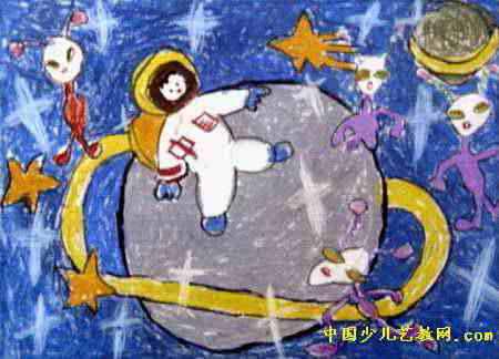上太空儿童画2幅图片