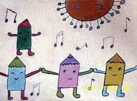 铅笔舞会儿童画图片