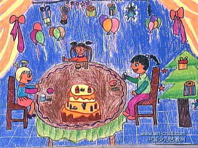 派对简笔画-生日聚会儿童画2幅