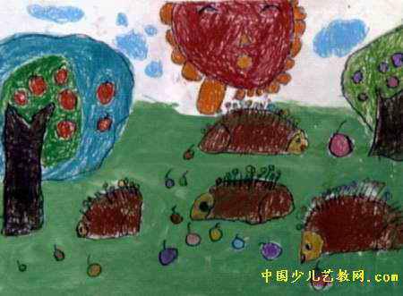 小刺猬摘果子儿童画