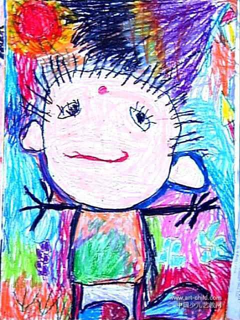 儿童油画棒简笔画_我……儿童画作品欣赏