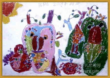 奇怪的树叶儿童画