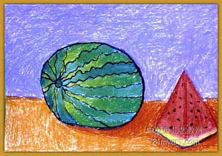 西瓜儿童画3幅(第2张)图片