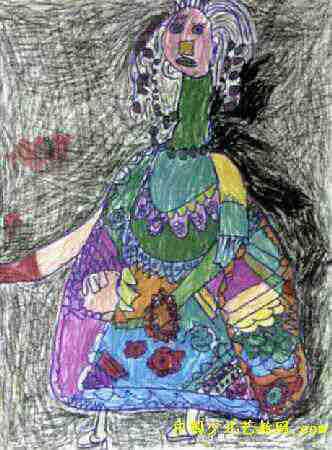 儿童画 潘子安/我的老师儿童画,此幅油画棒画大小为450x332像素,作者潘子安...