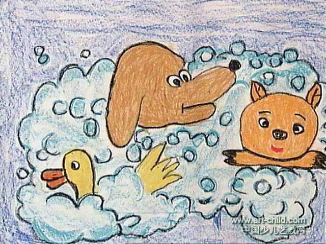 洗澡儿童画,此幅油画棒画尺寸为480x640像素,作者李善鑫,男,5岁,来自
