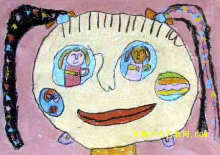 眼睛里的老师儿童画