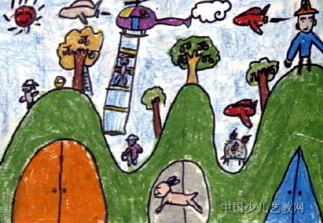 丰收新景象儿童画