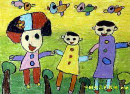 全家一起去郊游儿童画