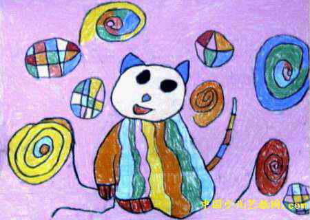 小猫玩球儿童画,这幅油画棒画作品长320px