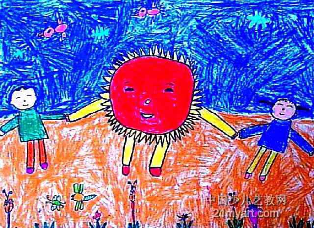 我们和太阳手拉手儿童画图片