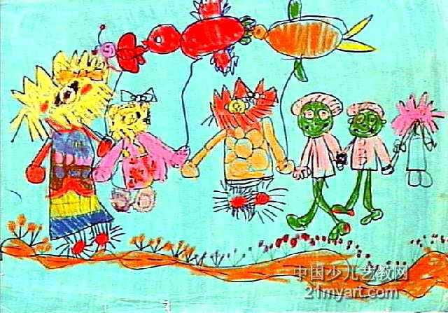 散步的动物儿童画