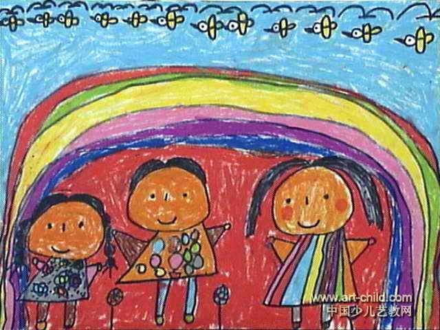 彩虹宝宝儿童画图片