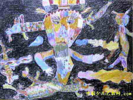 接月亮儿童画 狮子儿童画(二)8幅