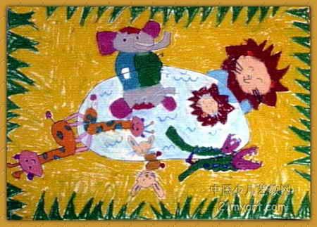 照镜子儿童画6幅(第3张)