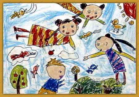 仙女儿童画,此幅油画棒画大小为316x450像素