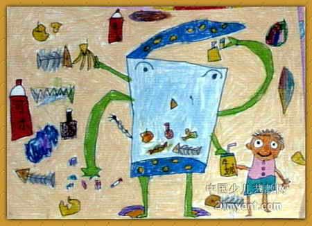 长手长脚的垃圾桶儿童画图片