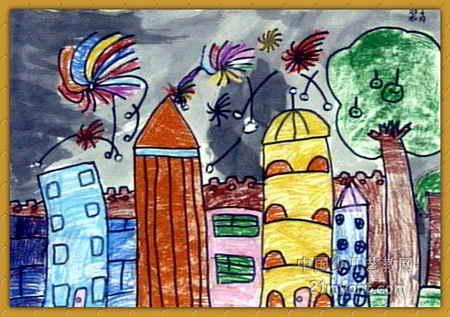 快乐城堡儿童画