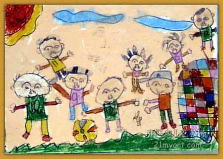踢足球儿童画13幅(第4张)