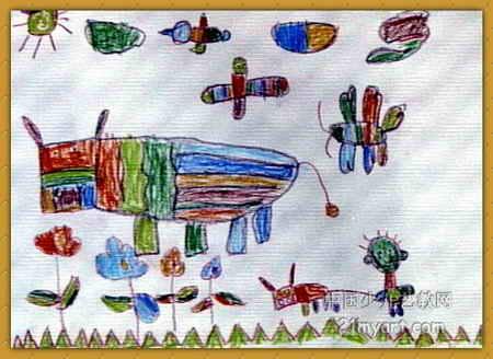 姥姥家的老牛儿童画,此幅油画棒画尺寸为328x450像素,作者刘贵佳,男,5岁,来自郑州市管城区布厂街馨心幼儿园.