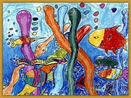 美丽的海洋儿童画4幅(第2张)