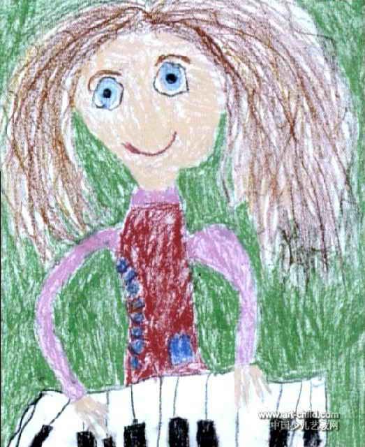 儿童画 张琳/我的老师儿童画属于油画棒画,作品长640px,宽523px,作者张...