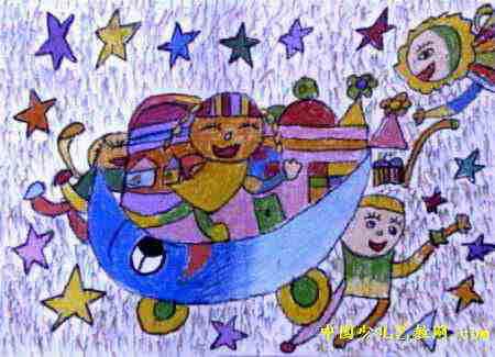 月亮上的故事儿童画8幅 第7张