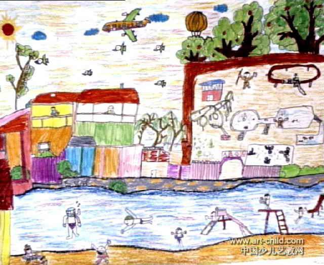 游乐园儿童画4幅 第2张