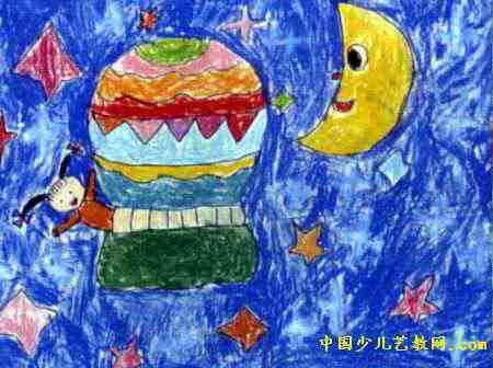 星空探秘儿童画