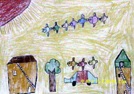 小鸟坐车儿童画