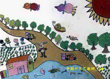 田间树林儿童画