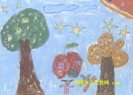 空中花园儿童画3幅