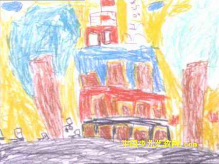 高高的楼房儿童画