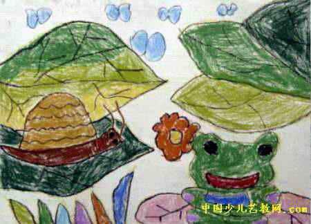 简笔画 秋收_青蛙给蜗牛唱歌儿童画