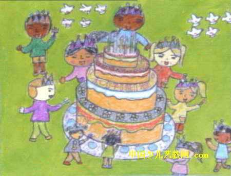 和平蛋糕儿童画属于水粉画