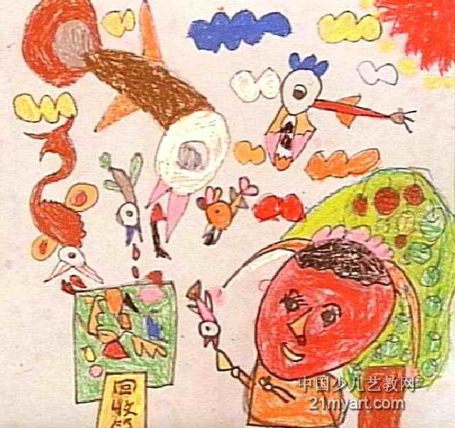 小鸟帮我收垃圾儿童画作品欣赏