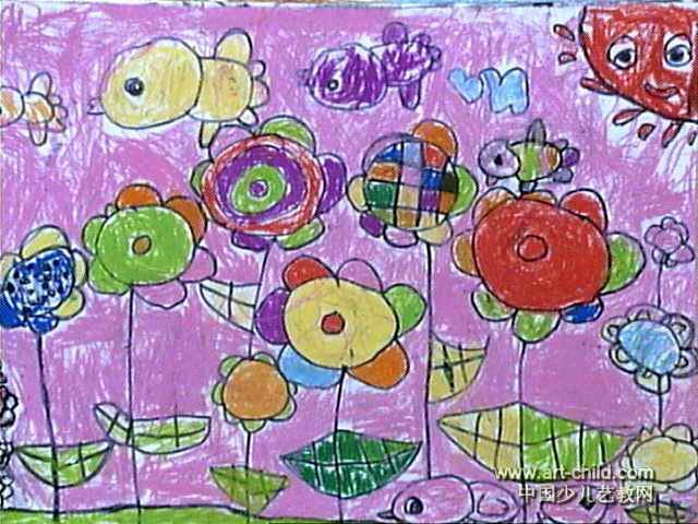 七色花儿童画3幅