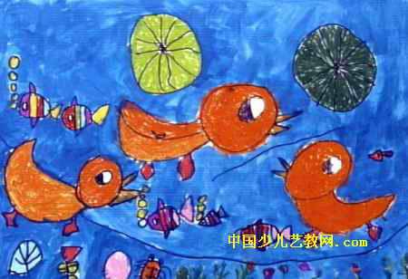 快乐的小鸭子儿童画4幅