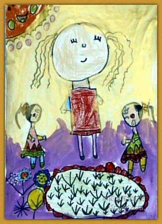 妹妹的小花园儿童画
