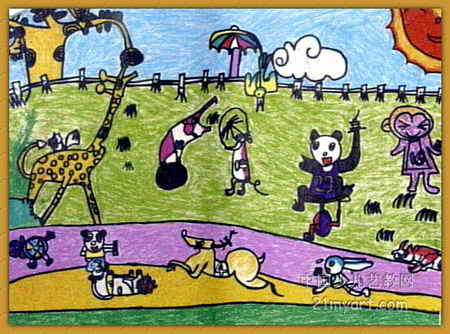 英语连环画图片4幅-动物运动会儿童画,此幅油画棒画大小为334x450像素,作者白艺华,
