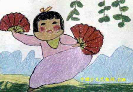 胖头鱼和娃娃儿童画 桔子树儿童画作品欣赏