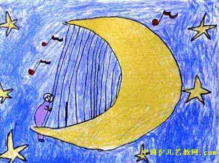 月亮琴儿童画,此幅油画棒画大小为335x450像素