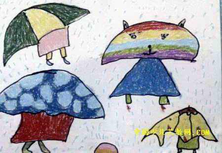 儿童画 伞 雨伞 450_311