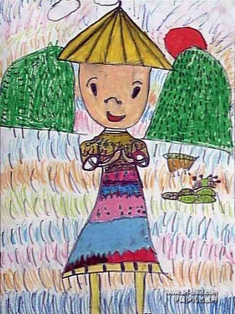 美丽的稻草人儿童画作品欣赏